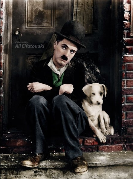 """Charlie Chaplin starring in the short silent film """"A Dog's Life"""" in 1918"""