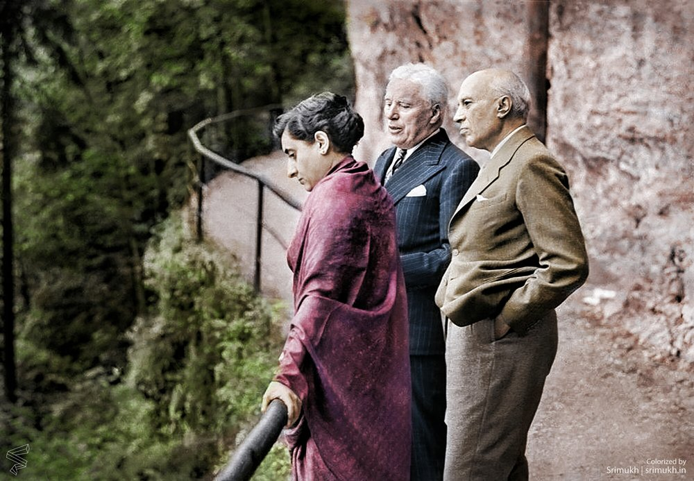 Jawaharlal Nehru, 1st Prime Minister of India, his daughter, Indira Gandhi who went on to become the 3rd Prime Minister of India, and Charlie Chaplin, in Bürgenstock, Switzerland in 1953.
