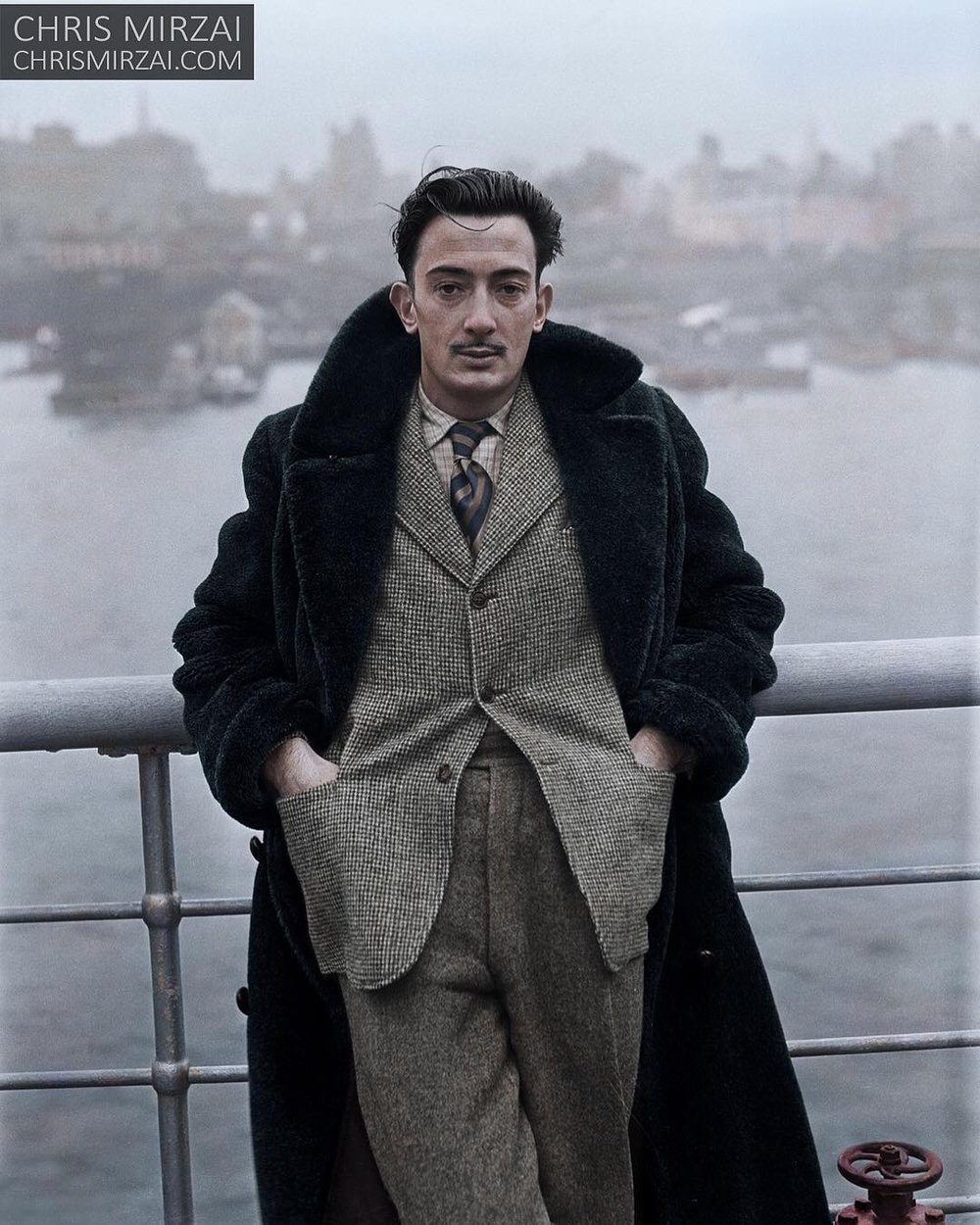 Salvador Dali, in New York on 7th December 1936. Colorization by  Chris Mirzai
