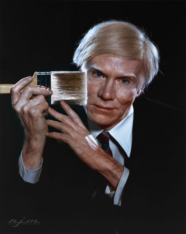 Andy Warhol, American Pop Artist, best known for his paintings of cans of soup, in 1979. Colorization by  RJM