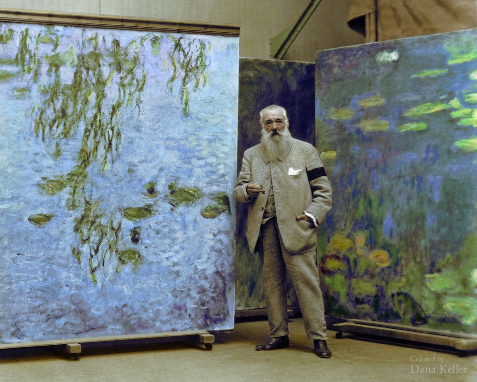 Claude Monet, French Impressionist painter, in c. 1923. Colorization by  Dana R. Keller
