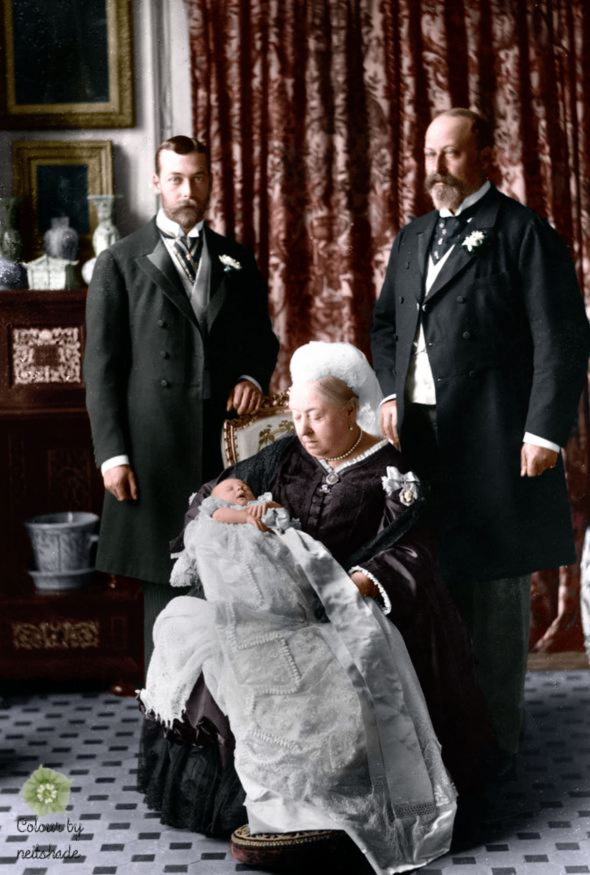 Official christening photographs of Prince Edward, future Edward VIII which shows Queen Victoria holding him with future King George V and future King Edward VII behind them in 1894.