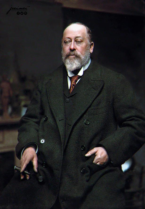 Photograph of King Edward VII of the United Kingdom in 1901 at the age of 59 smoking a cigar at Sandringham House, Norfolk