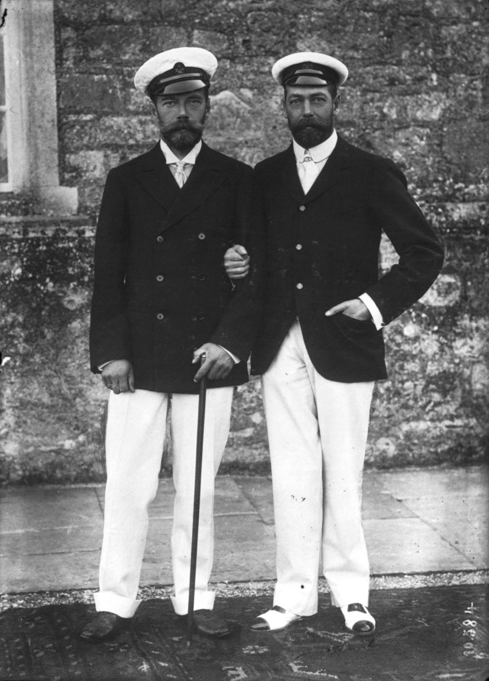 Photograph of Russian Leader, Tsar Nicholas II, and his cousin, King George V, on 4 August 1909 during a gathering at Osborne House in East Cowes, Isle of Wight. This was taken when Nicholas was on a state visit to England.