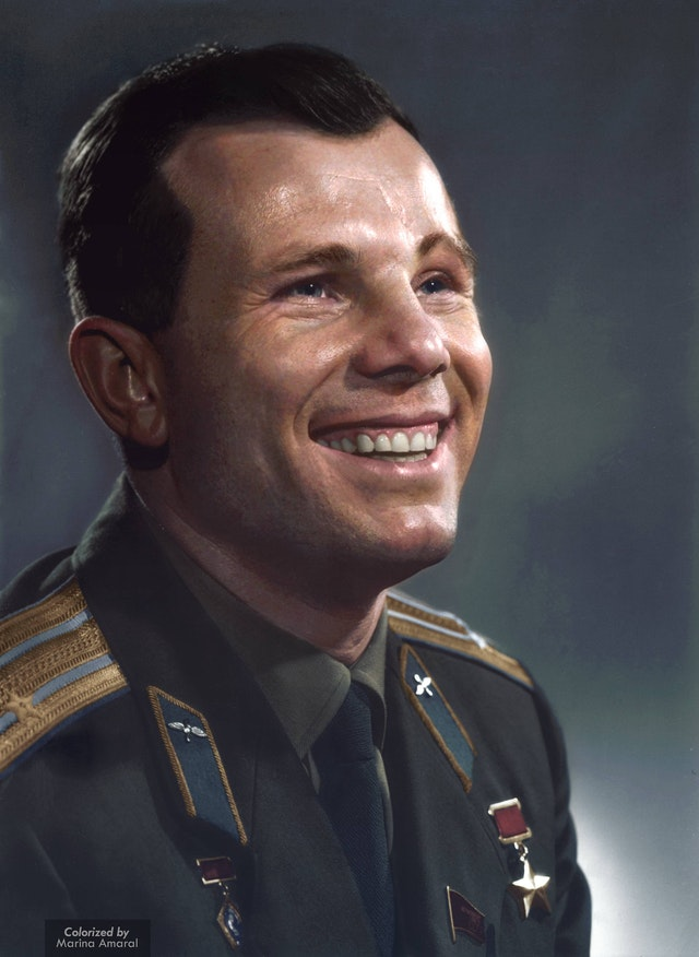 Portrait Photograph of Yuri Gagarin showing his famous smile. Colorization by  Marina Amaral