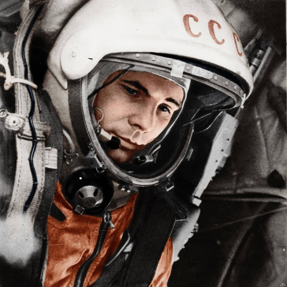Photograph of Yuri Gagarin in his space suit in the Vostok 1 cockpit on 12 April 1961. Colorization by  Xander-Lionheart