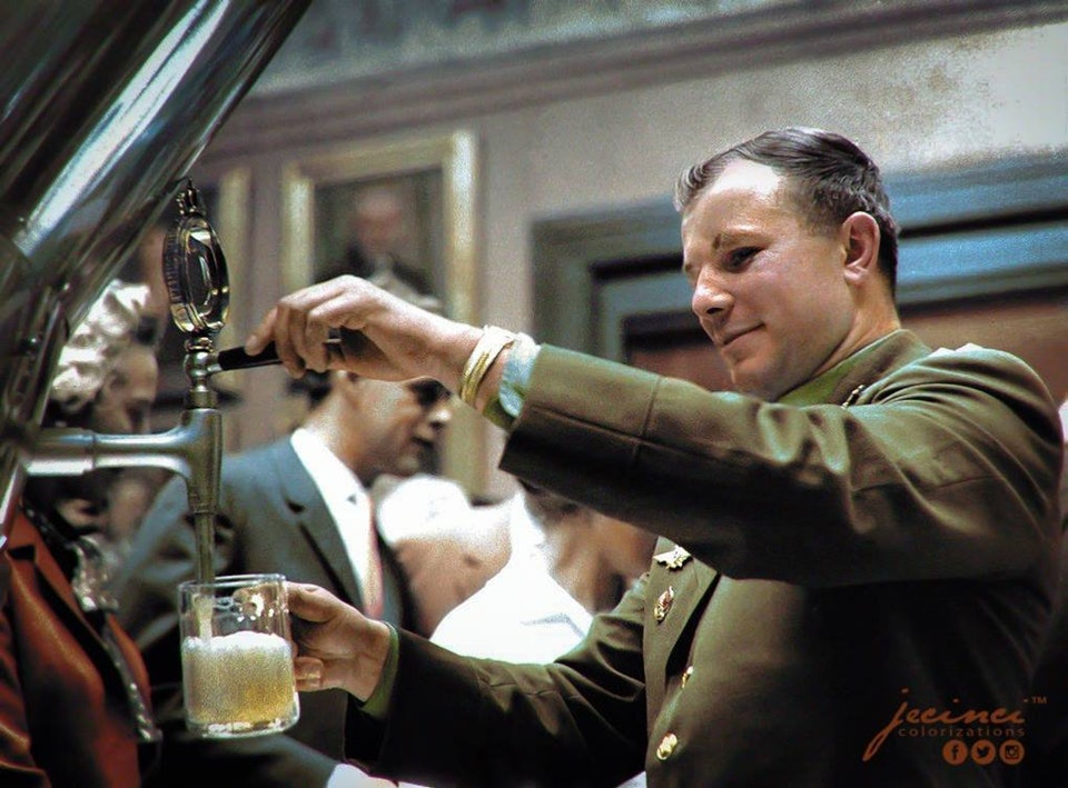 Photograph of Yuri Gagarin at the Carlsberg Brewery in Denmark on the 21 September 1962. Colorization by  Jecinci
