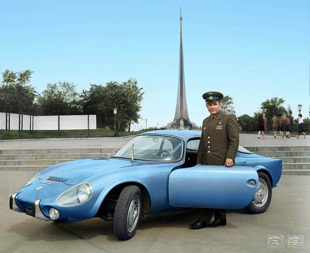 Yuri Gagarin with his Matra Bonnet Djet VS coupe in 1965 whilst on tour in France. Colorization by  Klimbim