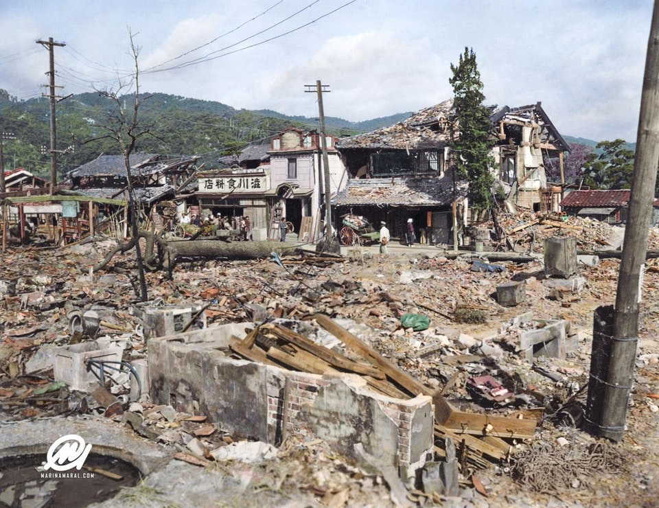 The devastation caused by the Atomic bomb dropped on Nagasaki on the 9 August 1945. Colorization by  Marina Amaral .