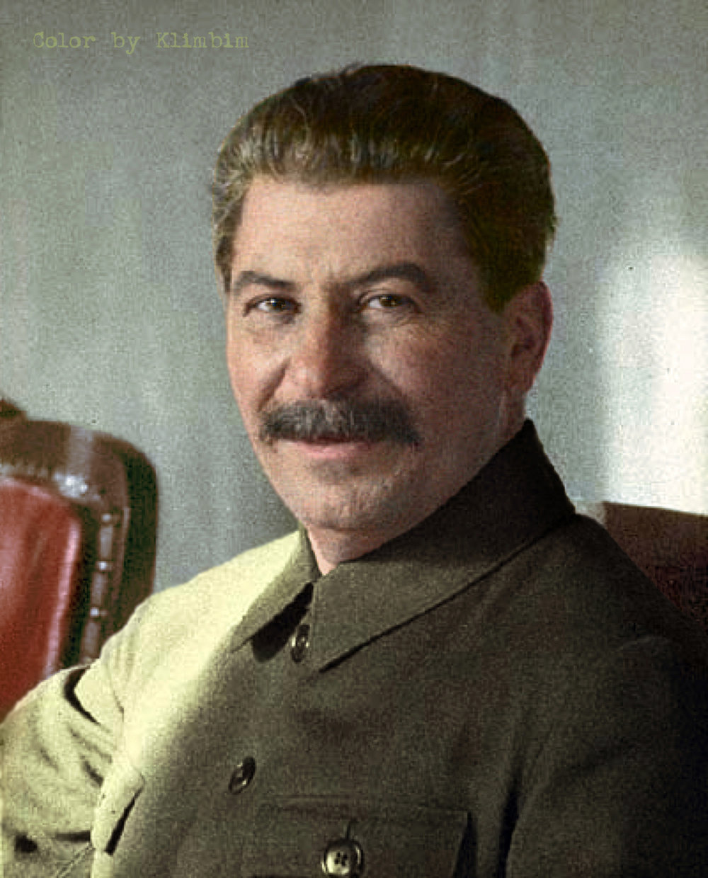 Photograph of Joseph Stalin, leader of the Soviet Union from the late 1920s until his death in 1952. This was taken at the Kremlin in Moscow in 1932. Colorization by  Klimbim