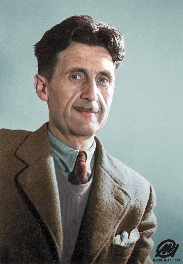 Photograph of famous British author, George Orwell. Colorization by  Marina Amaral