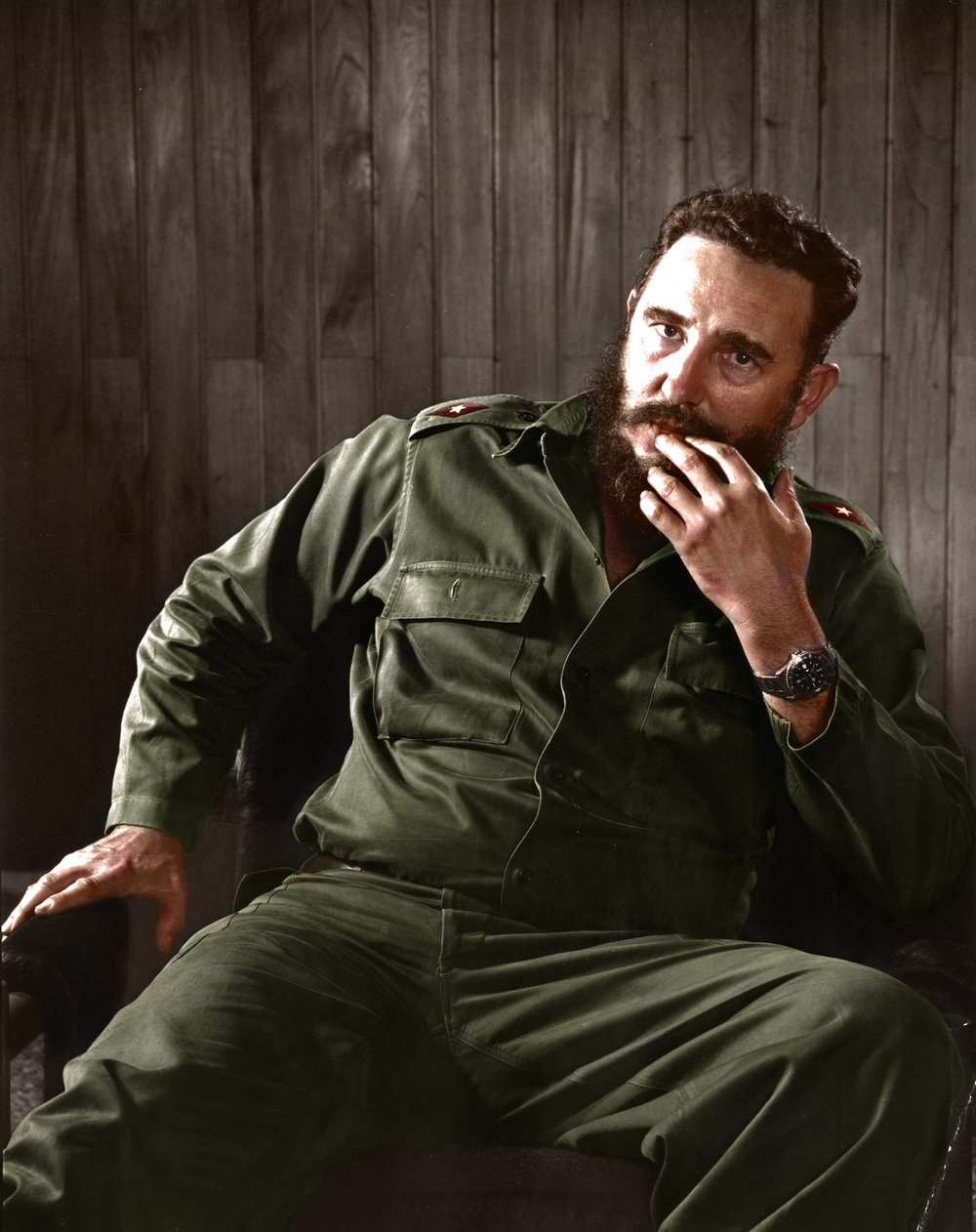 Photograph of Fidel Castro, Communist President of Cuba from 1976 until 2008. Colorization by  Mads Madsen