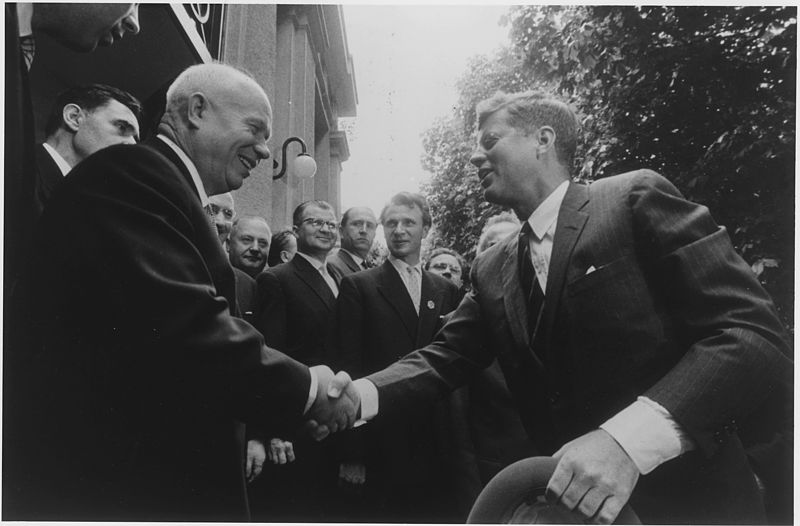 Photograph of John F. Kennedy and Nikita Khrushchev shaking hands on the 4 June 1961.