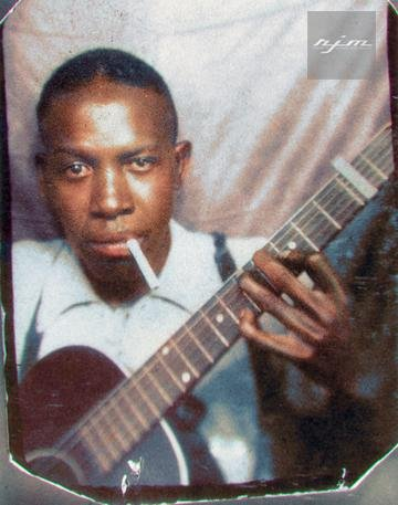 Color Photograph of Blues Legend Robert Johnson. This is one of only two verified photographs of him. Colorization by  RJM