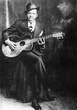 Photograph of Robert Johnson in Memphis, USA in 1935. This is one of only two verified photographs of him.