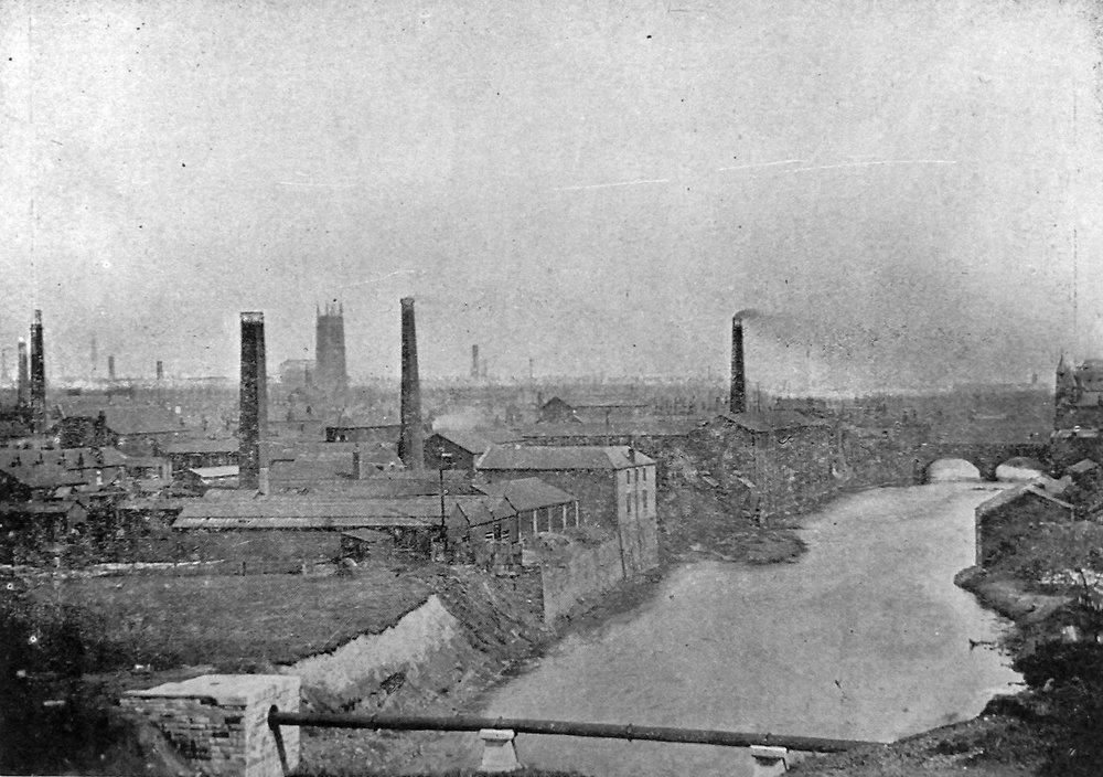 A Photograph of the town of Radcliffe, Manchester in 1902. This was an area which was used mainly for industry relating to paper making, textiles, and coal mining.
