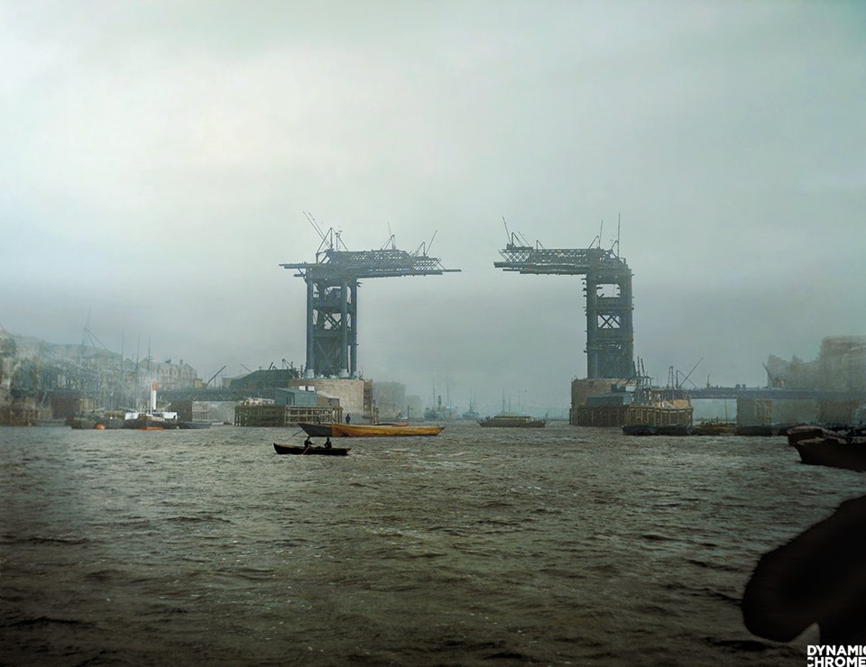 Photograph of the construction of Tower Bridge in London, England in c. 1889. Colorization by  Jordan J. Lloyd