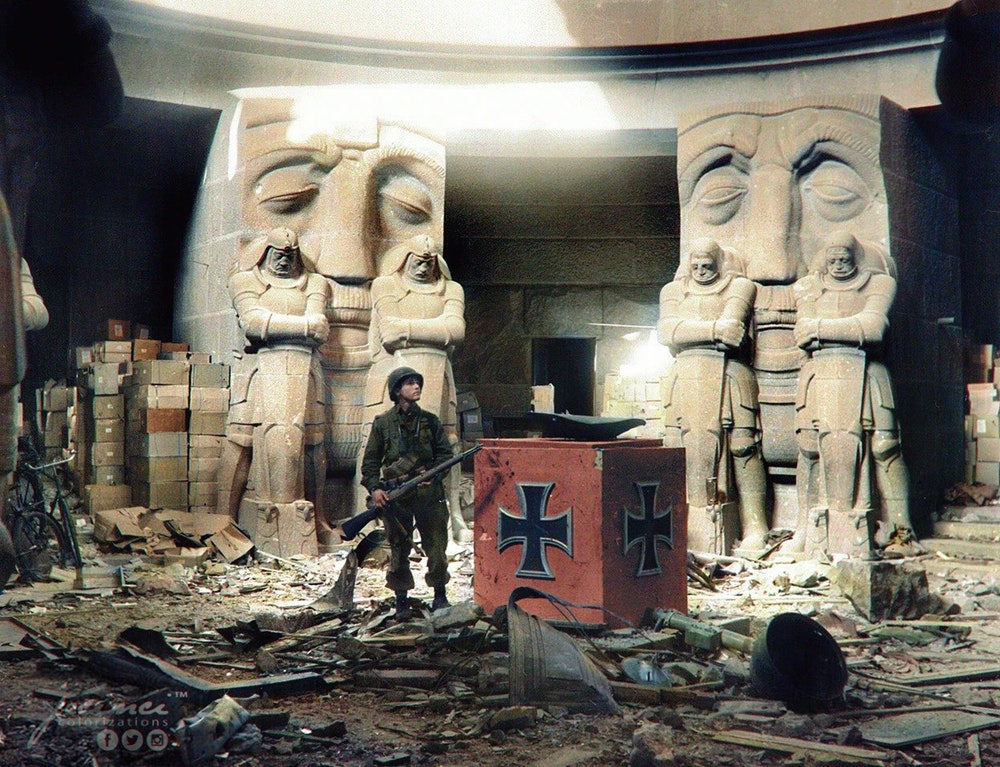Photograph of an American Soldier Standing in the Debris inside the Monument to the Battle of the Nations in Leipzig, Germany, April 1945
