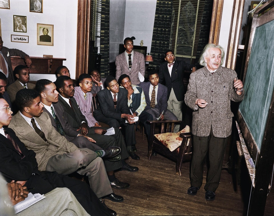 Photograph of Albert Einstein teaching at Lincoln University in Pennsylvania, the United State's first Historical Black University, 1946