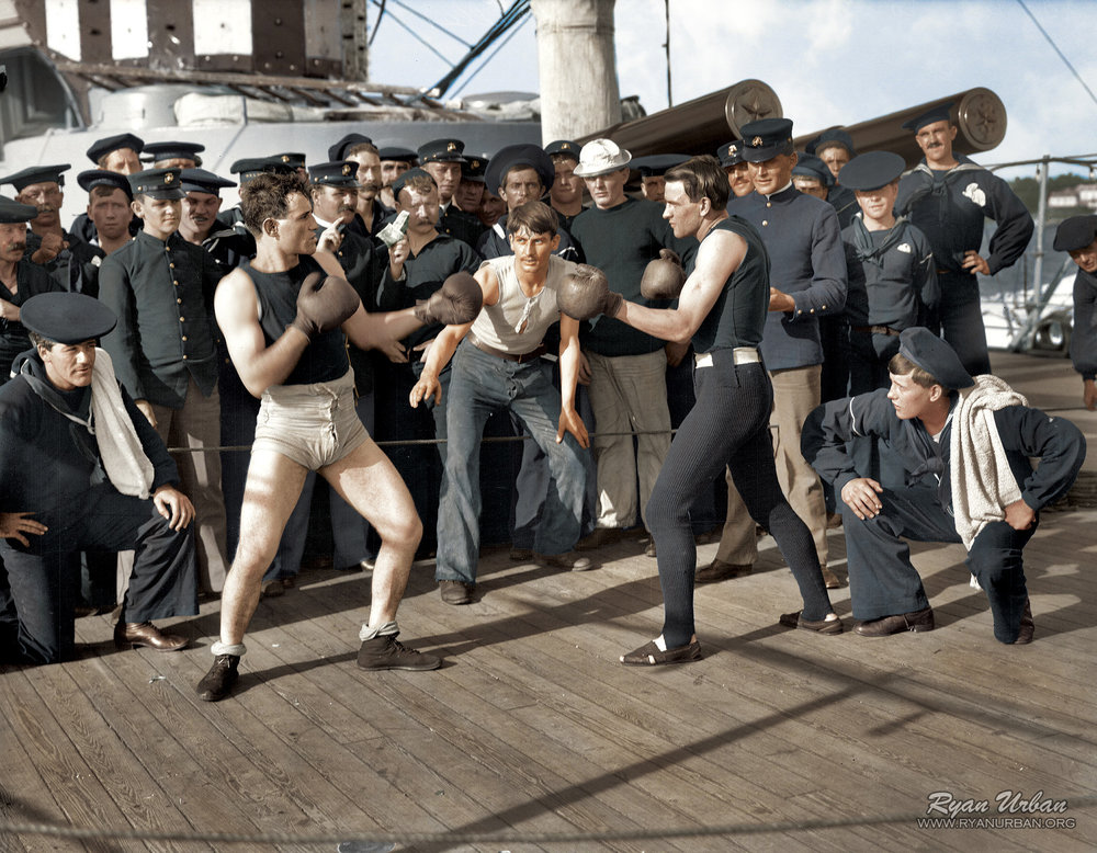 Photograph of a boxing match on board the USS New York, 3 July 1899