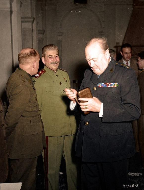 Photograph of Joseph Stalin and Winston Churchill together in Livadia Palace during the Yalta Conference, February 1945
