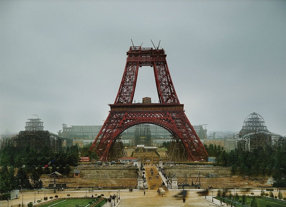 Photograph of the Eiffel Tower during its construction in Paris, France, July 1888