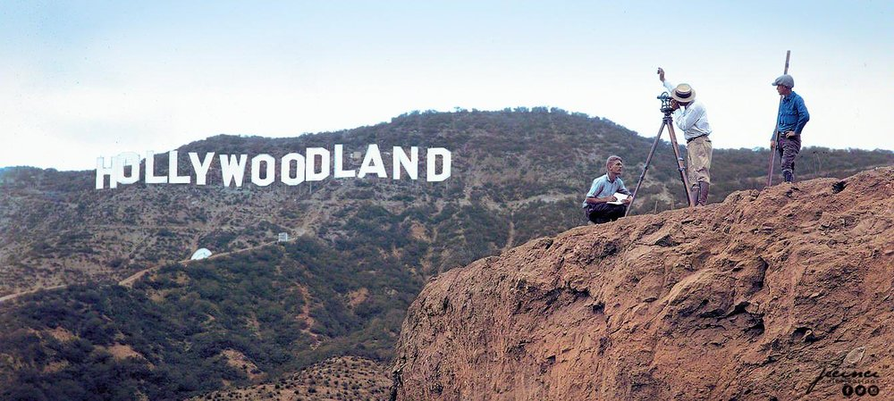 Photograph the Hollywoodland sign in Los Angeles, United States, 1923