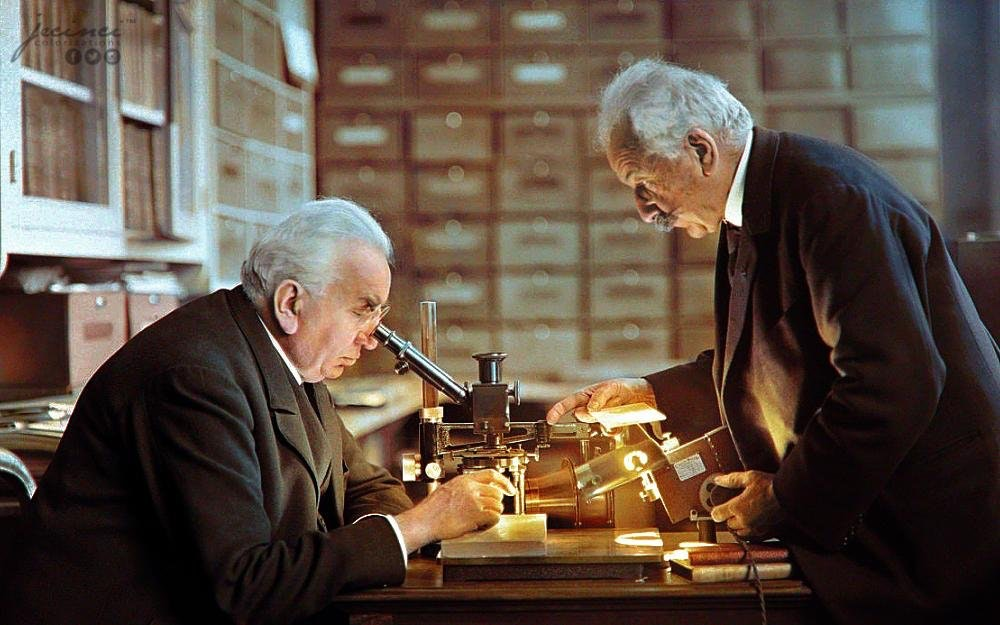 Photograph of Louis Lumière and Auguste Lumière (right) in their laboratory in Lyon, France, c. 1925