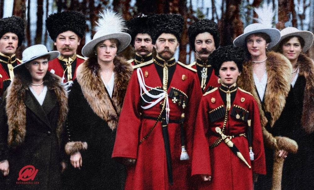 Photograph of Tsar Nicholas II of Russia and his children with Cossack officers, 1916