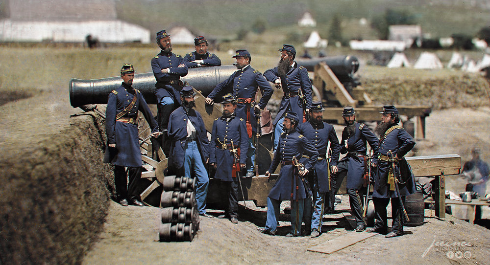 US Civil War - Officers of the 69th New York Volunteer Regiment pose with a cannon at Fort Corcoran in 1861. (Col. Michael Corcoran at far left) - jecinci.jpg