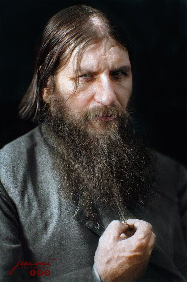 Grigori Rasputin, Russian peasant who was close with the Russian Royal Family due to his reported ability to be able to ease Tsarevich Alexei's hemophilia. Photograph taken in 1916. Colorization by  Jecinci