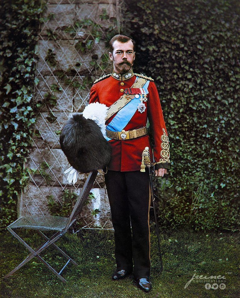 Tsar Nicholas II of Russia wearing a uniform of the Royal Scots Greys in September 1896. Colorization by  Jecinci