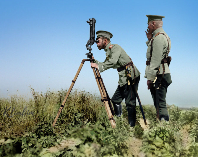 Tsar Nicholas II looking through a periscope near the front line during the First World War in c. 1915. Colorization by  Klimbim