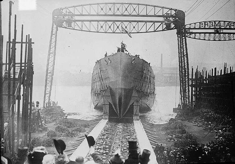 The launch of battle cruiser HMS Queen Mary at Palmer's Shipbuilding in Jarrow in March 1912.