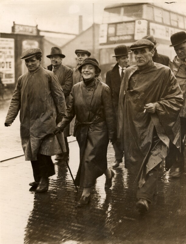 Ellen Wilkinson, Labour MP for Jarrow, leading the Jarrow Crusade on the final day, 31 October 1936.