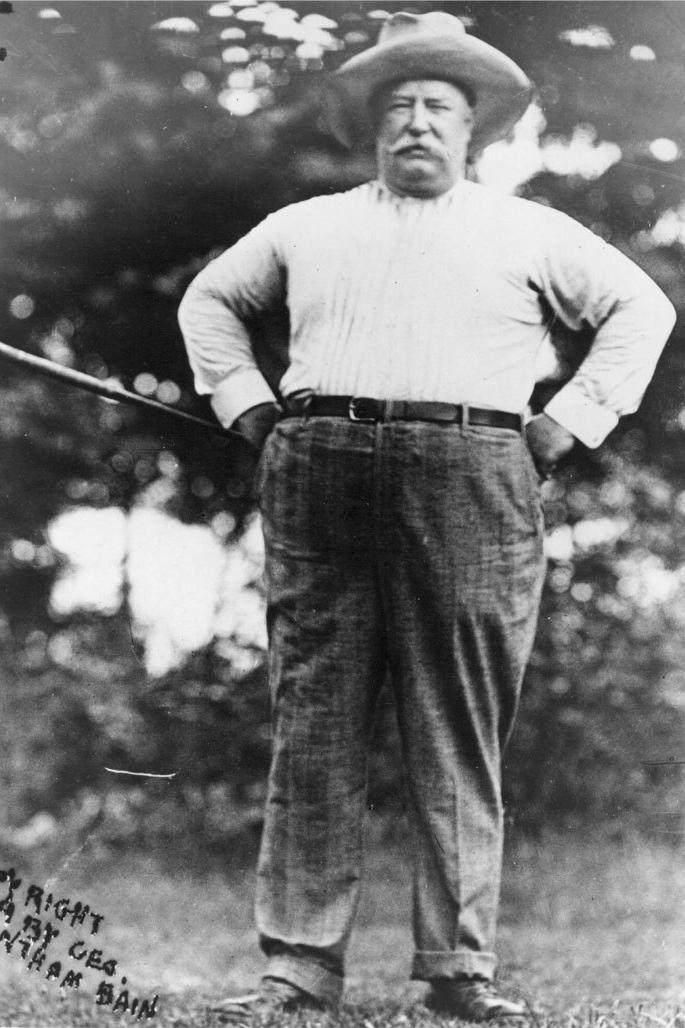 William Howard Taft at his biggest size. He weighed up to 350 pounds at one point in his life making him the largest President to date.
