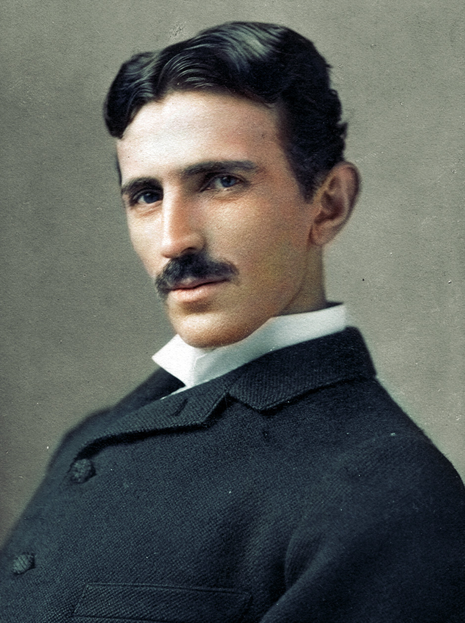 A colorized photograph of Nikola Tesla in 1893 at the age of 37. Colorization by  Dana R. Keller