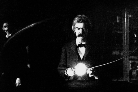 Mark Twain in Tesla's Laboratory with a figure (which is believed to not be Tesla) in the background.