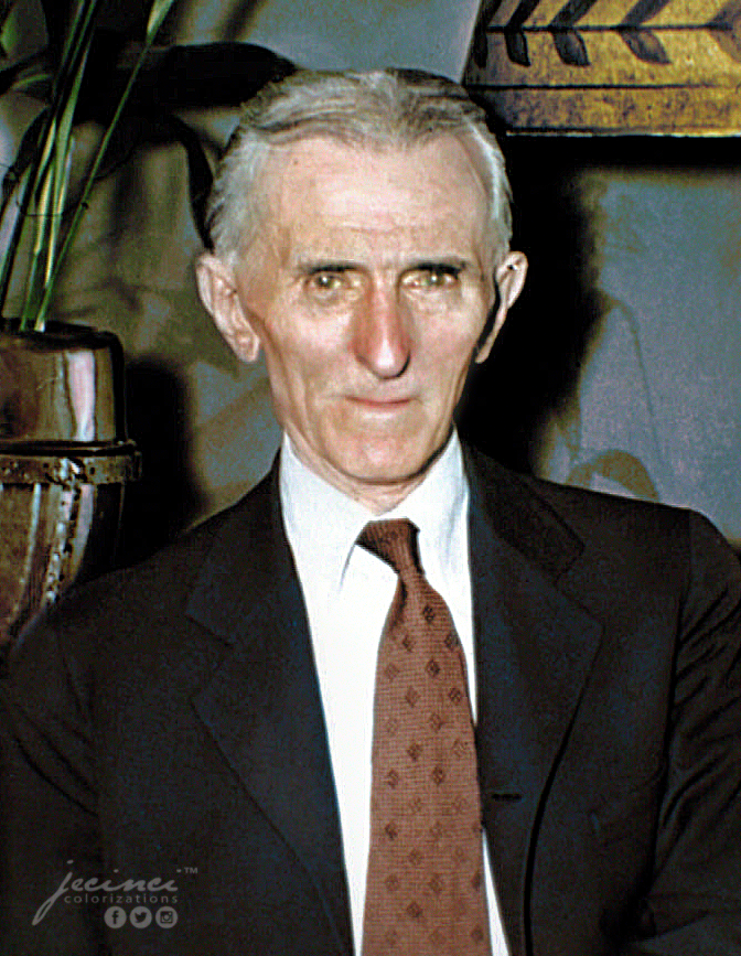 A photograph of an old Nikola Tesla (81-years-old) on the 11th July 1937. Colorization by  Jecinci