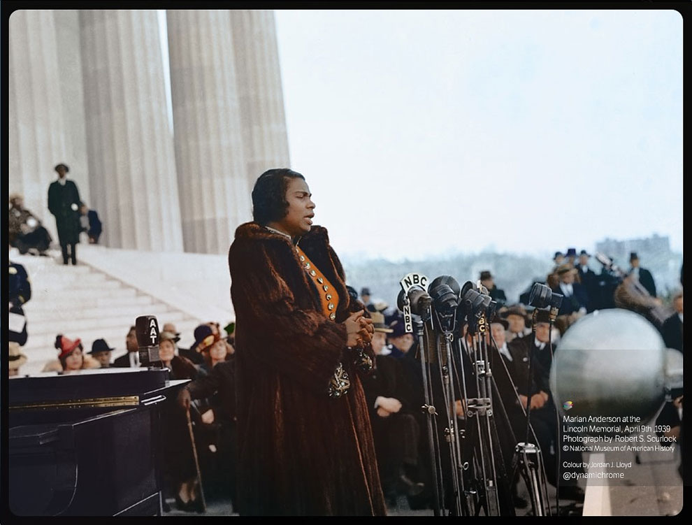 A color photograph of Marian Anderson performing at the Lincoln Memorial in Washington, D.C. in 1939. Colorization by  Jordan J. Lloyd