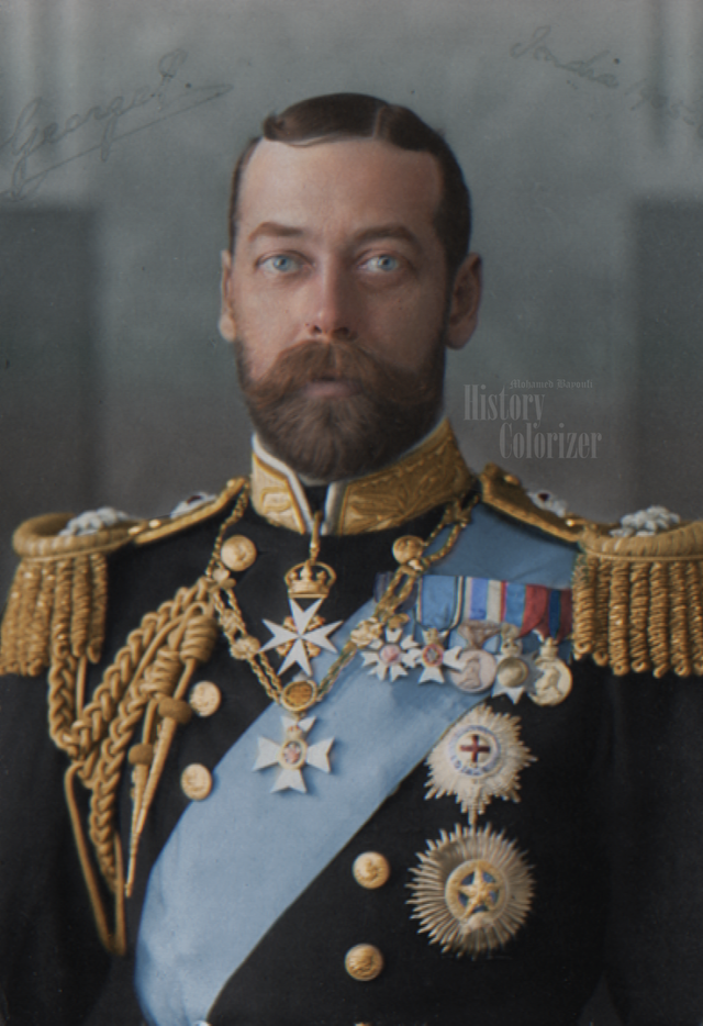 A photograph of King George V of the United Kingdom and Ireland in color. Colorization by  Mohamed Bayouli