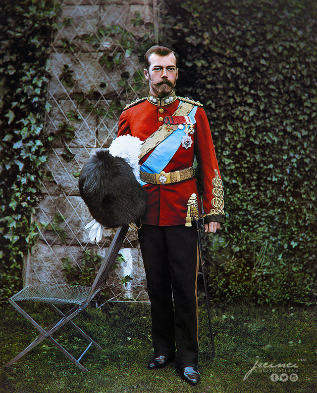 A photograph of Tsar Nicholas II of Russia in the British military uniform of the Royal Scots Greys in September 1896 in color. Colorization by  Jecinci