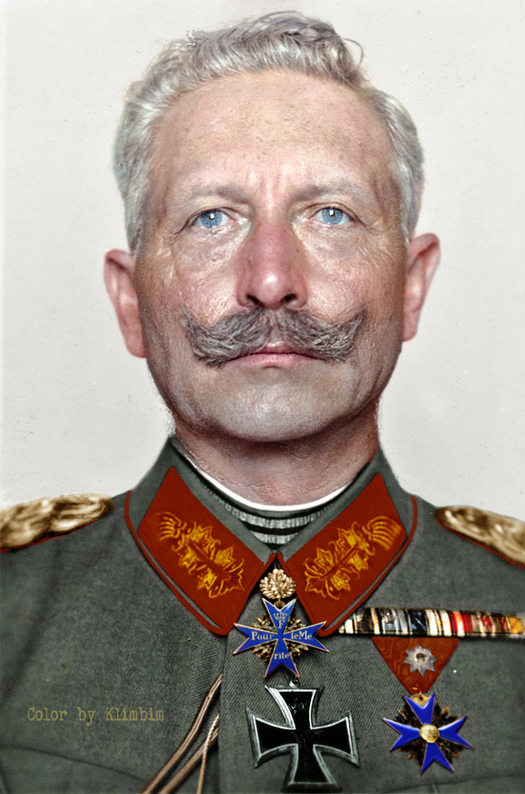 A colorized photograph of Kaiser Wilhelm II taken in 1918. Colorization by  Klimbim