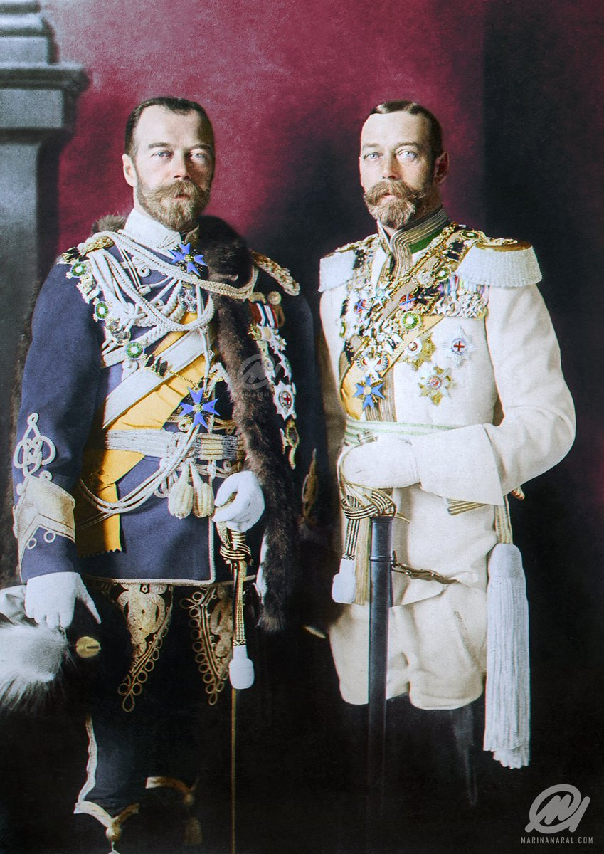 A photograph of Tsar Nicholas II of Russia (left) and King George V (right) in Berlin, Germany wearing German military uniforms in 1913. Colorization by  Marina Amaral