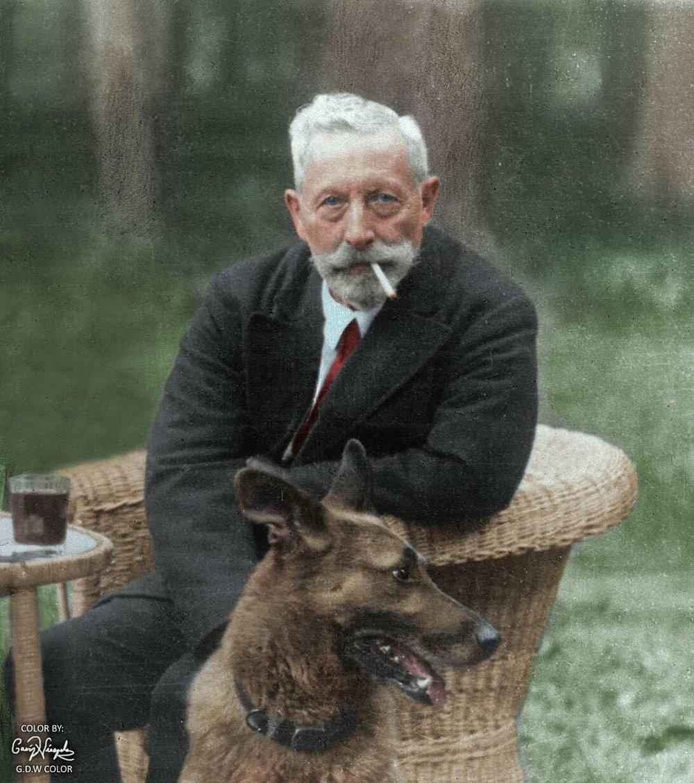 The abdicated Kaiser Wilhelm II at the age of 81 in 1940 at his home in the Netherlands. Colorization by  Gavin Daniel Wieszala
