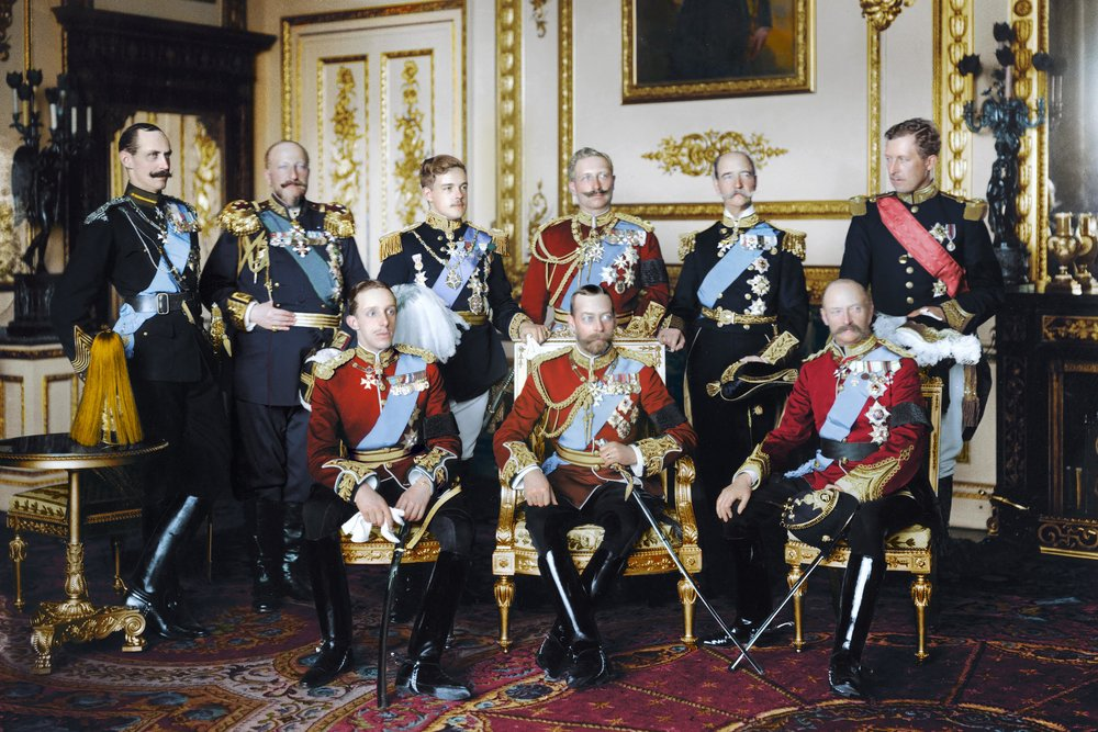 A color photo of the Nine Sovereigns from across Europa at Windsor for the Funeral of King Edward VII of the United Kingdom on the 20th May 1910. Standing left to right: King Haakon VII of Norway, Tsar Ferdinand of the Bulgarians, King Manuel II of Portugal and the Algarves, Kaiser Wilhelm II of Germany and King of Prussia, King George I of the Hellenes and King Albert I of the Belgians. Sitting left to right: King Alfonso XIII of Spain, King George V of the United Kingdom and King Frederick VIII of Denmark. Colorization by  Marina Amaral