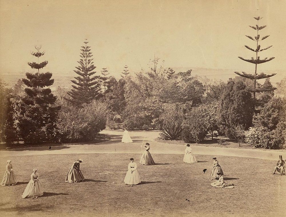 Victorian women partaking in croquet and archery in the Enmore House grounds, Newtown, Australia in c. 1868.