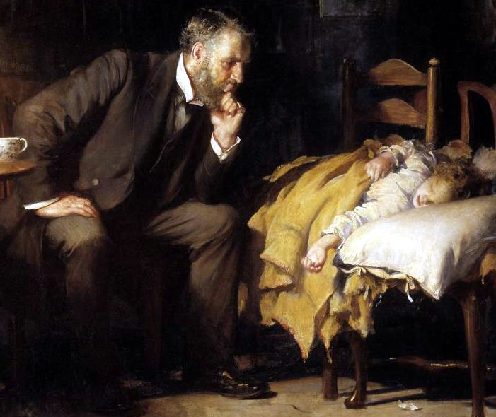 A section from the painting 'The Doctor' by Luke Fildes which depicts a critically ill child being observed by a Victorian doctor. Painting from 1891.