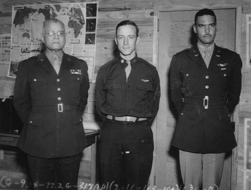 General Benjamin O. Davis Sr. (left) posing for a photograph with, General Noel F. Parrish, and his son Benjamin O. Davis Jr. who went on to become a General in 1954 (temporarily) and 1960 (permanent).
