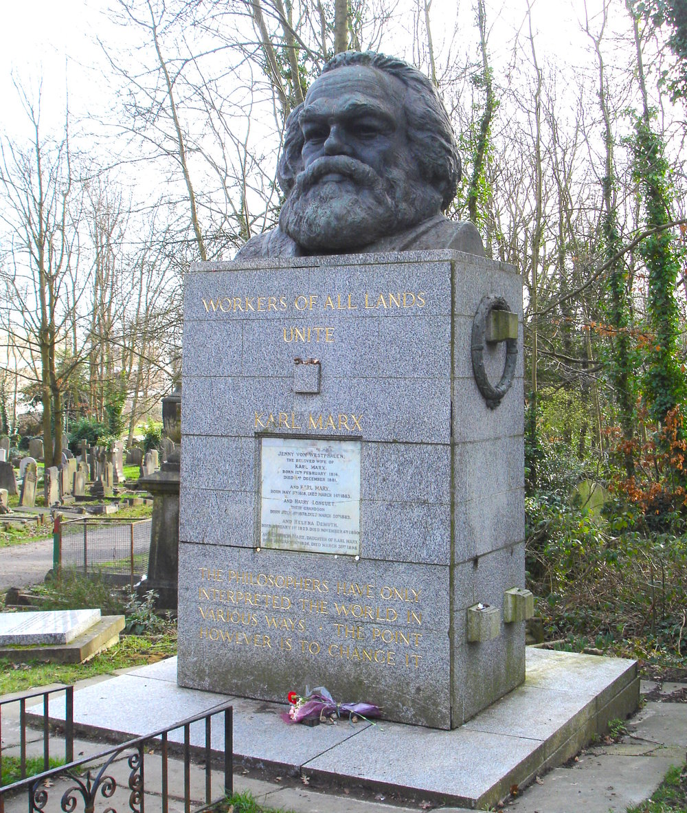 The grave of Karl Marx in Highgate Cemetery in London, England where he is buried along with his family.